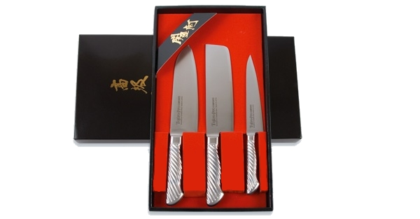 Набор из 3 ножей: Сантоку, овощной и универсальный Tojiro FG-55