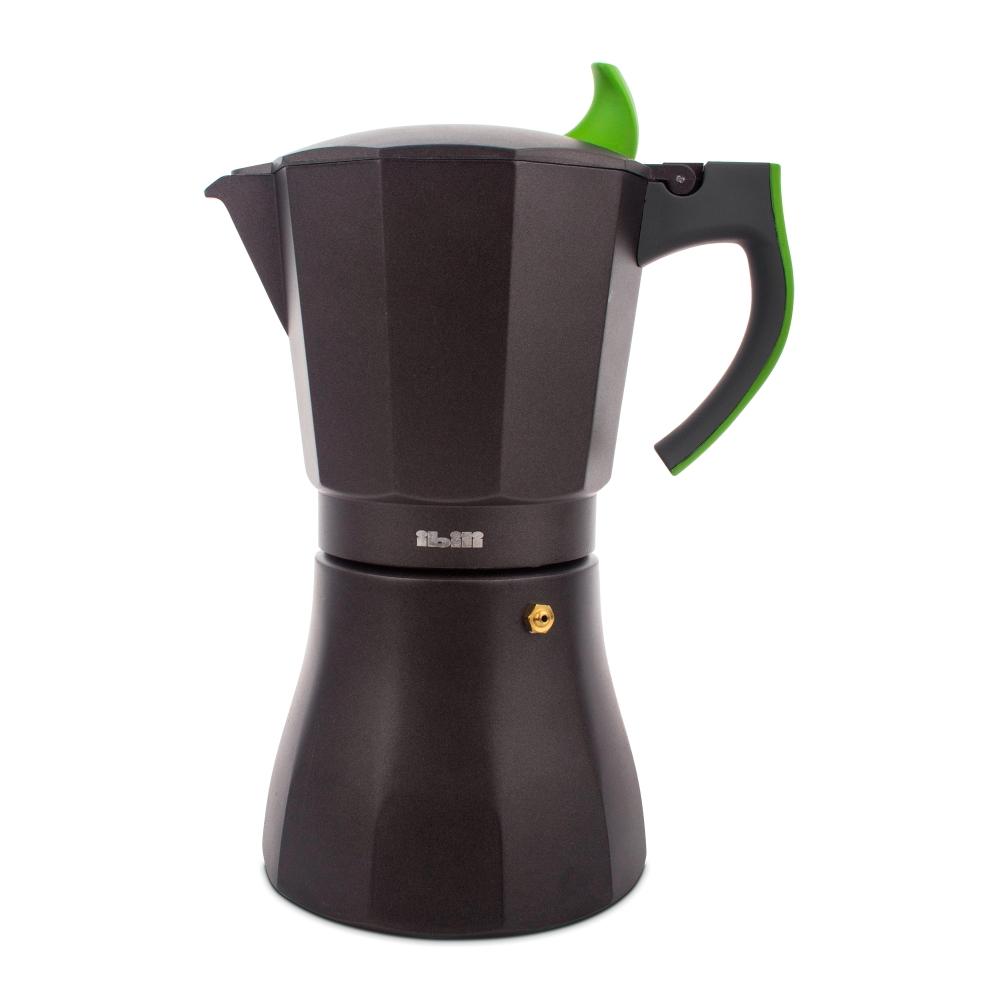 Кофеварка гейзерная на 12 чашек для всех типов плит IBILI Sensive 621112, ручка зеленая