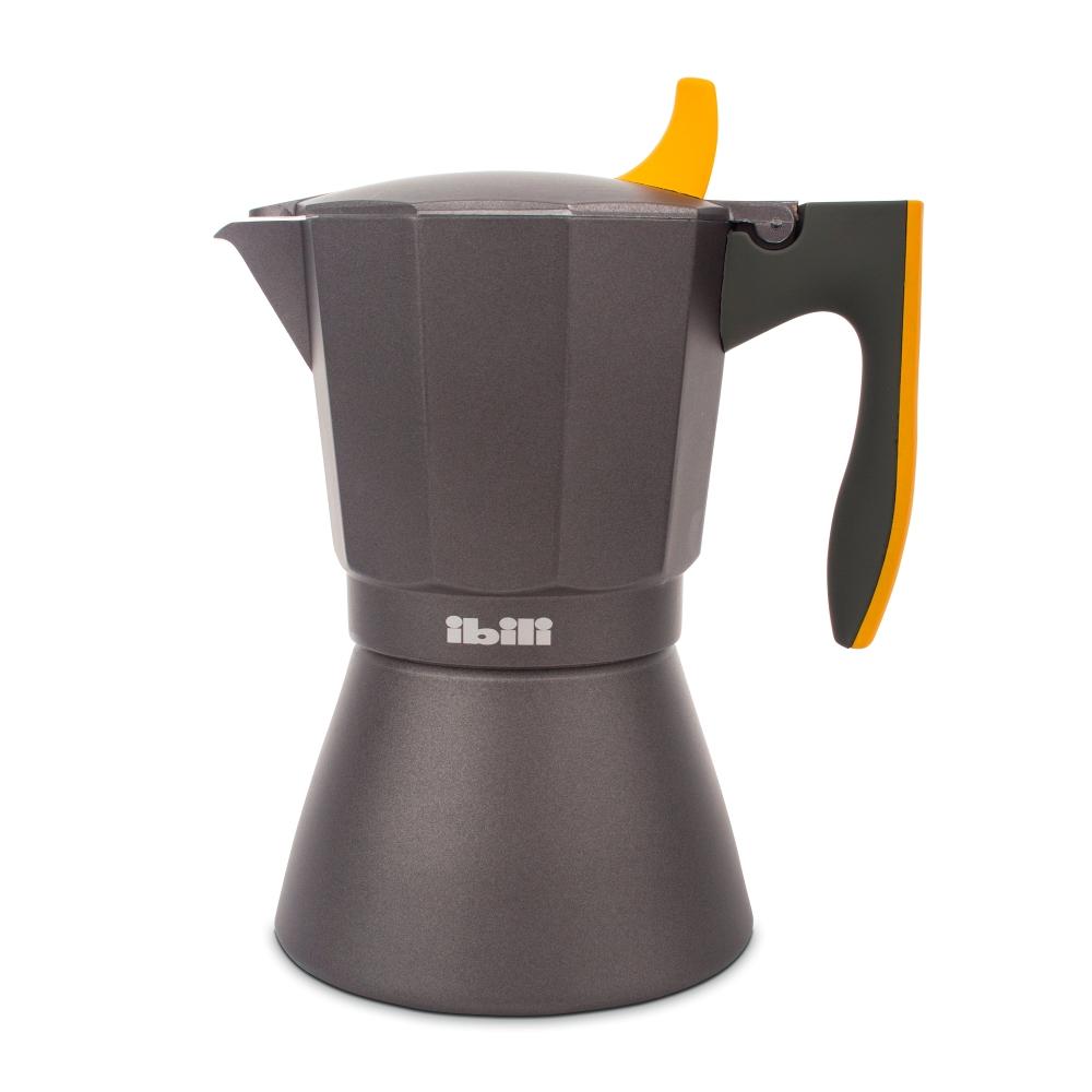 Кофеварка гейзерная на 9 чашек для всех типов плит IBILI Sensive 622209, ручка оранжевая