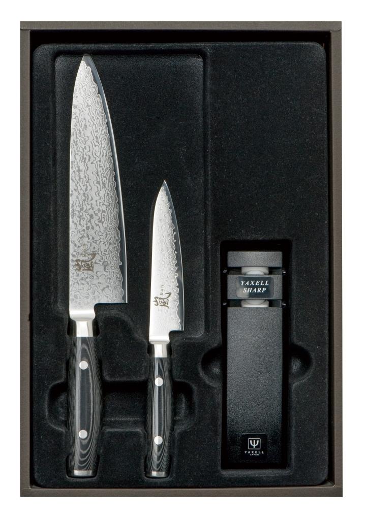 Набор из 2-х кухонных ножей с точилкой Yaxell Ran 69, YA36000-003