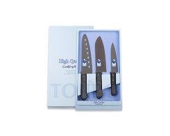 Набор из 3 ножей с тефлоновым покрытием (Сантоку, поварской и универсальный) Tojiro FG-165