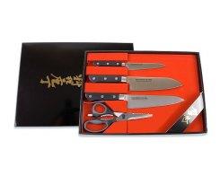 Набор ножей: Сантоку, поварской, универсальный ножи и кухонные ножницы Tojiro FG-215