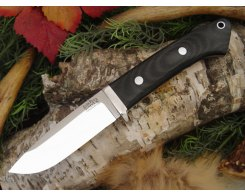 Нож туристический Bark River Drop Point Hunter Black Canvas Micarta