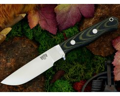 Нож туристический Bark River Gameskeeper Black & Green Linen Micarta