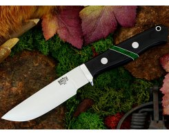 Нож туристический Bark River Gameskeeper Black Linen Micarta Jade Malachite
