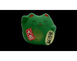 """Фигурка """"Манэки-Кот"""" Hatamoto MK-07, 5см, ручная работа, зеленый"""