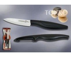 Нож керамический + овощечистка Hatamoto HC300W-BLK