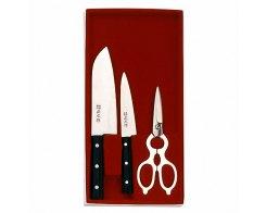 Набор кухонный из двух ножей и ножниц в подарочной упаковке Masahiro 11534