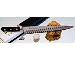 Универсальный узкий нож Misono Molibden Steel с проточкой Sujihiki 300 мм.