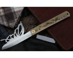 Складной нож хигоноками Nagao Higonokami HPBA-100S-Brass