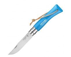 Складной нож Opinel №7 Trekking нержавеющая сталь, голубой, 86 мм.