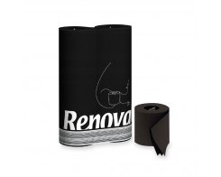 Бумага туалетная Black Renova S/104 Renova, цвет: черный, 3 слоя, 6 рулонов